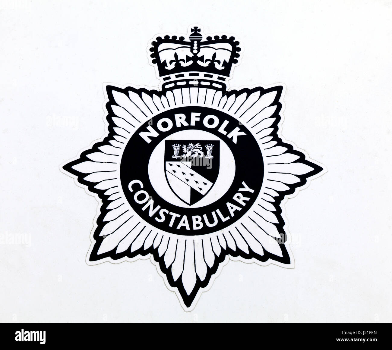 Norfolk Constabulary, logo, police car insignia, badge, English county police force, England UK, police forces - Stock Image