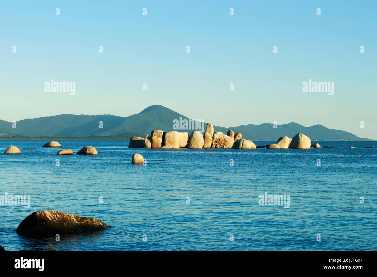 The mystical rocks of Itaguaçu beach, Florianopolis - SC - Brazil. - Stock Image
