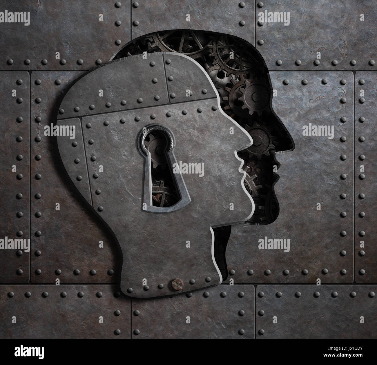 Open brain door with metal gears and cogs 3d illustration - Stock Image