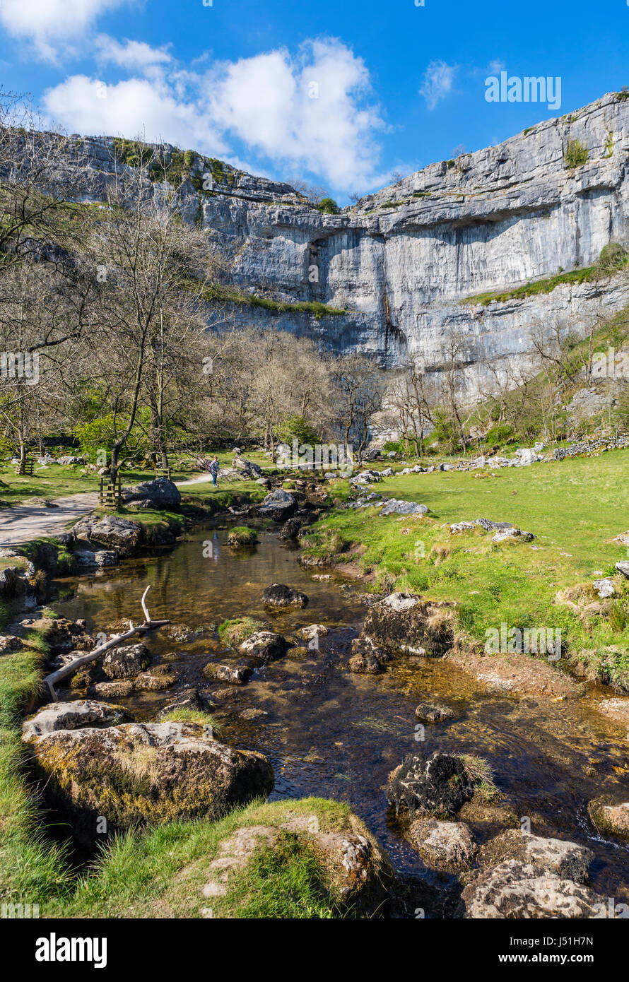 Malham Beck alongside the footpath to Malham Cove, Malham, Malhamdale, Yorkshire Dales National Park, North Yorkshire, - Stock Image