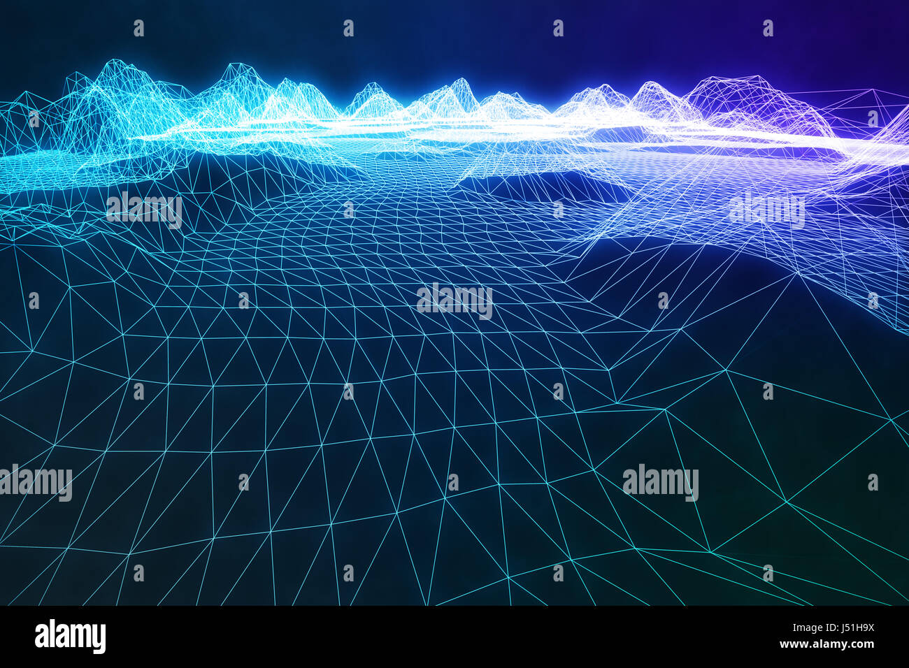 3D Illustration Abstract Digital Wireframe Landscape. Cyberspace Stock Photo: 140791782