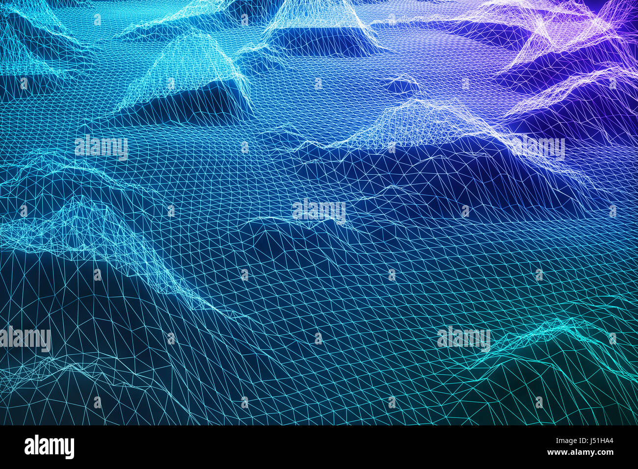 3D Illustration Abstract Digital Wireframe Landscape. Cyberspace Stock Photo: 140791788