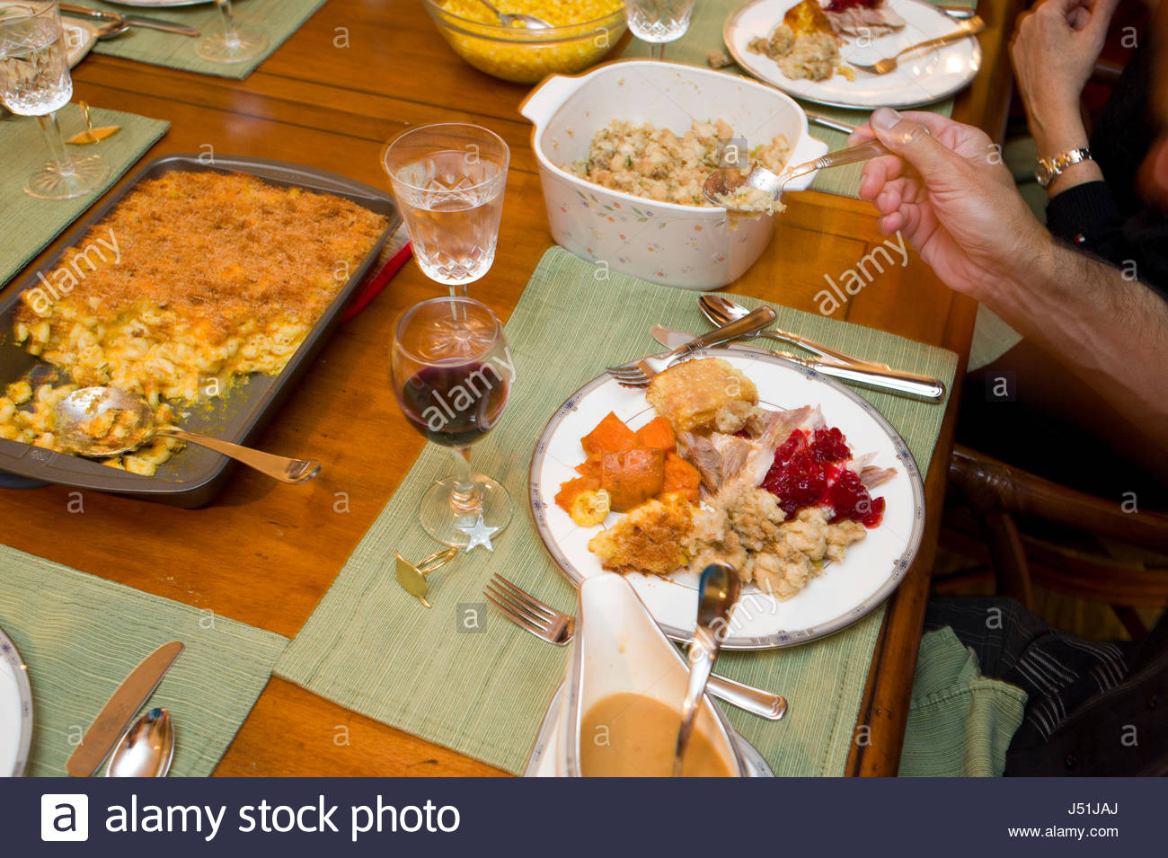 Plate Full Of Traditional Thanksgiving Day Dinner Foods Honolulu Oahu Hawaii Usa