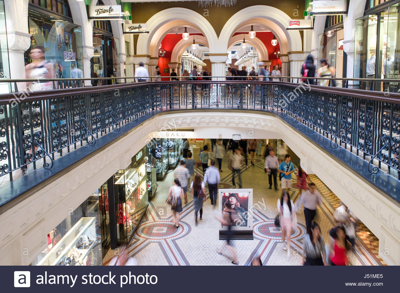 People shopping inside the Romanesque Revival styled Queen Victoria Building, Central Business District, Sydney, - Stock Image