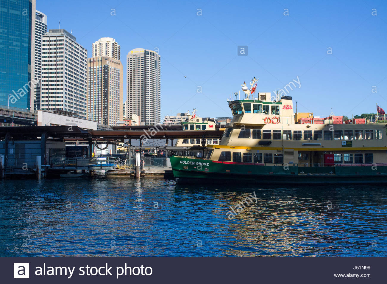 Circular Quay Ferry Wharfs, Sydney Cove, Central Business District, Sydney, New South Wales, Australia - Stock Image
