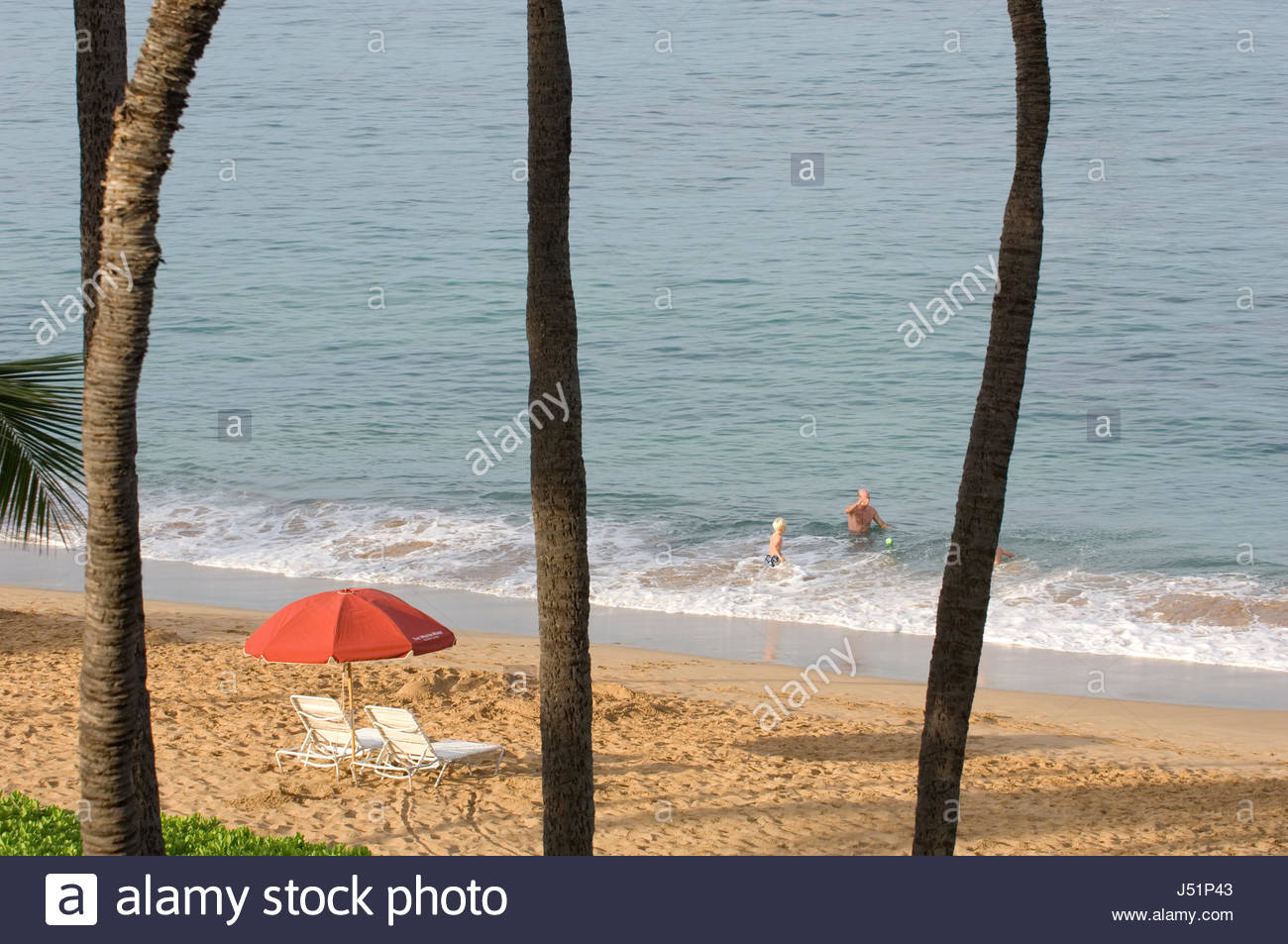 Two Recliners And Umbrella On The Warm Sands Of Kaanapali
