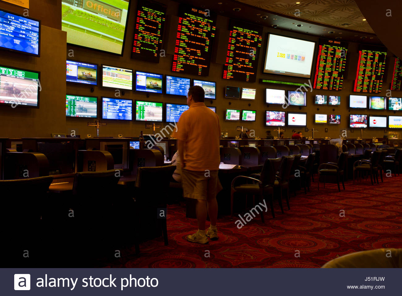 Many screens and televisions in the MGM Grand Casino, Las Vegas, Clark County, Nevada, USA - Stock Image