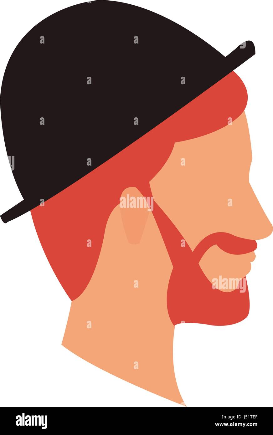bearded head man profile with hat - Stock Image