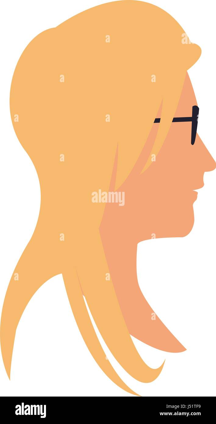 profile head blonde woman with sunglasses - Stock Vector