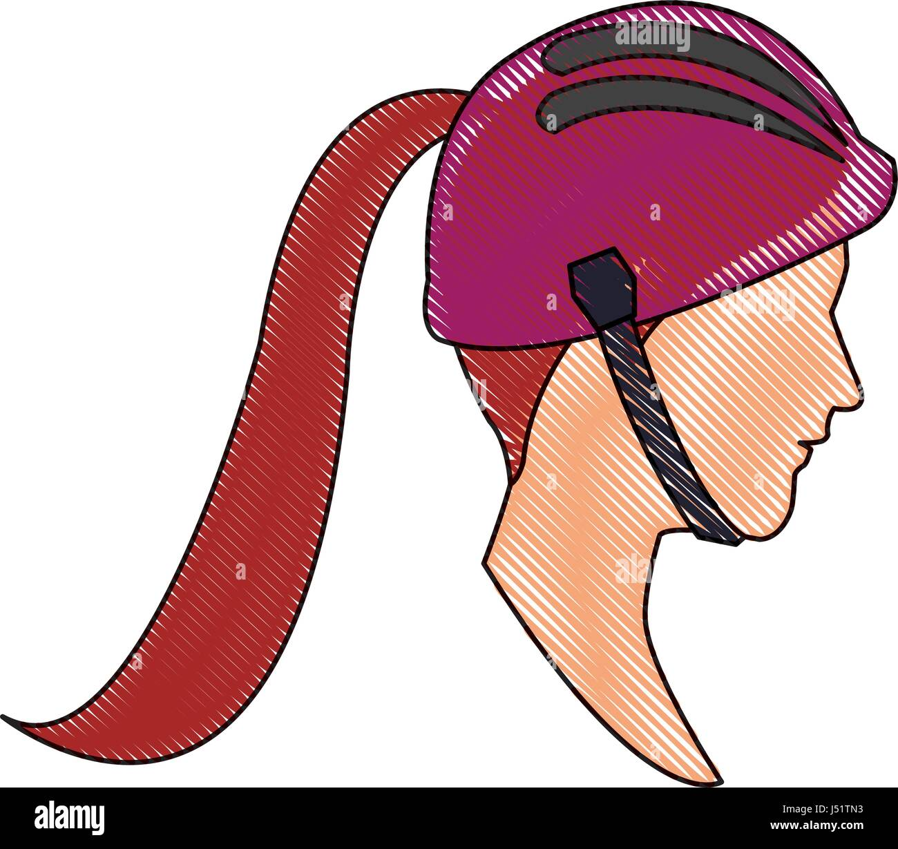 drawing head profile young woman ponytail and helmet sport - Stock Vector