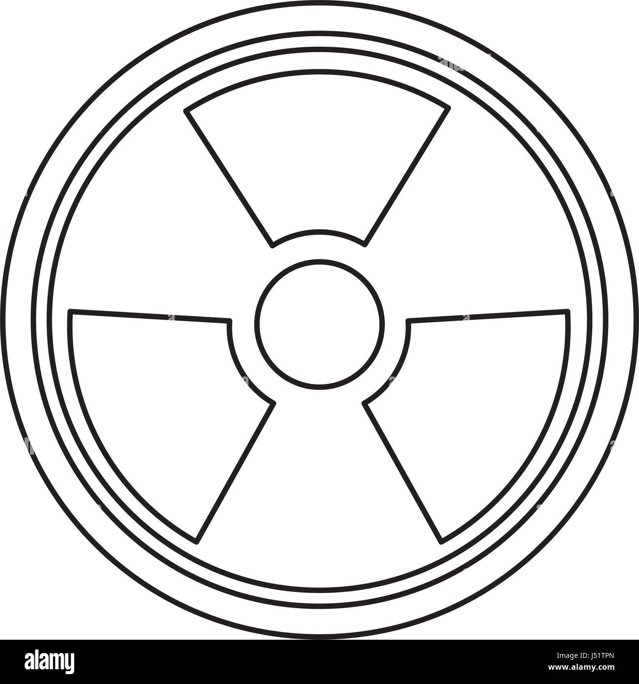 radiation caution hazard nuclear symbol - Stock Vector