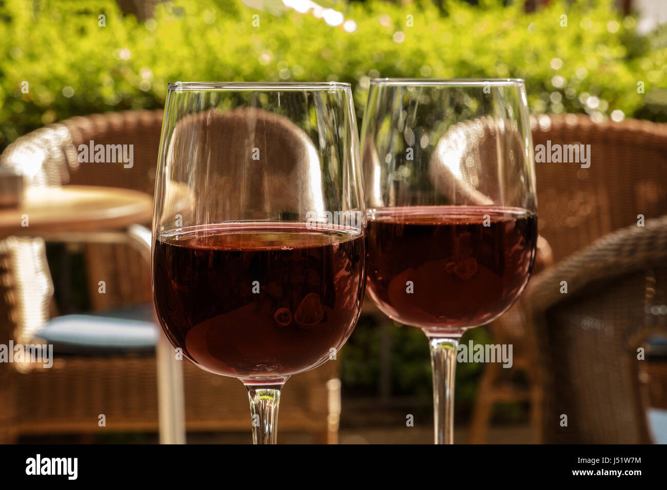 Two Glasses Of Red Wine On A Terrace Stock Photo 140797992