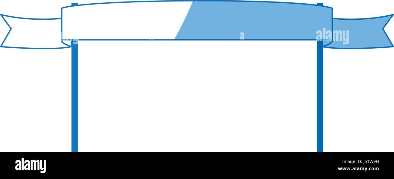 ribbon banner pole symbol emblem empty - Stock Vector