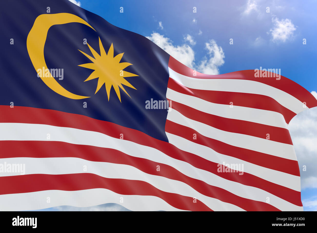 3d rendering of malaysia flag waving on blue sky background hari stock photo alamy https www alamy com stock photo 3d rendering of malaysia flag waving on blue sky background hari merdeka 140798924 html