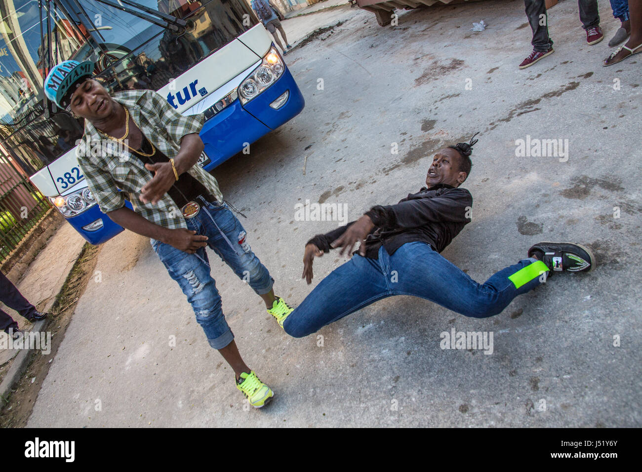 Cuban rappers performing on the street - Stock Image