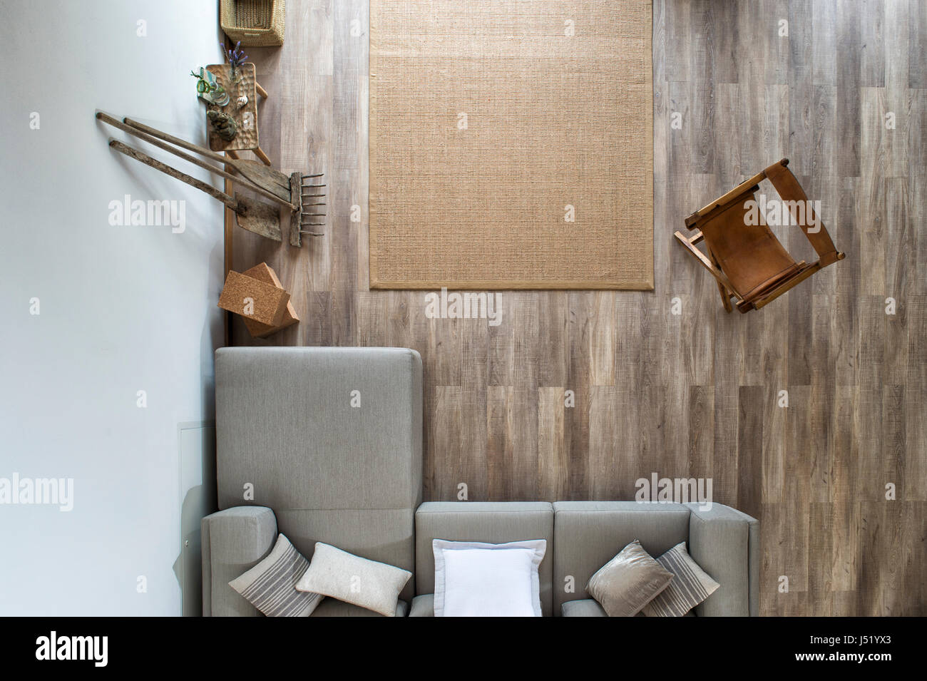 modern sitting room viewed from above - Stock Image