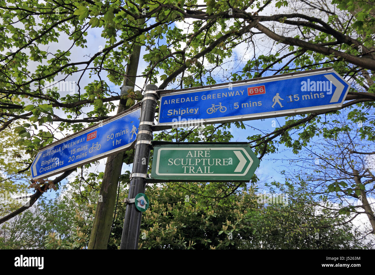 Signpost on Airedale Greenway along towpath of Leeds & Liverpool Canal, Saltaire, Bradford - Stock Image