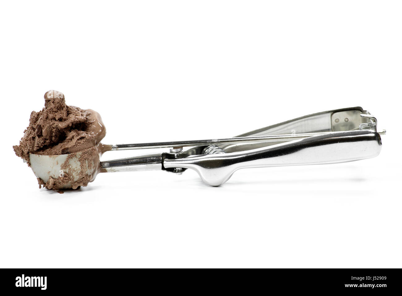 disher scoop with chocolate ice cream isolated on white background Stock Photo