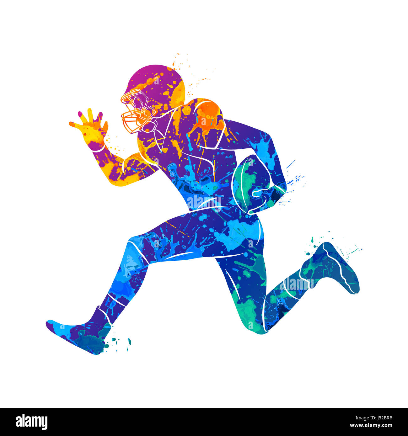 Abstract american football player from splash of watercolors. Photo illustration of paints. - Stock Image