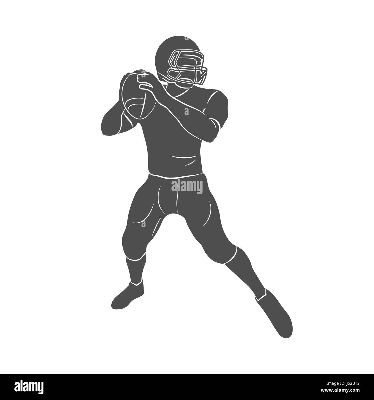 Silhouette american football player on a white background. Photo illustration. - Stock Image