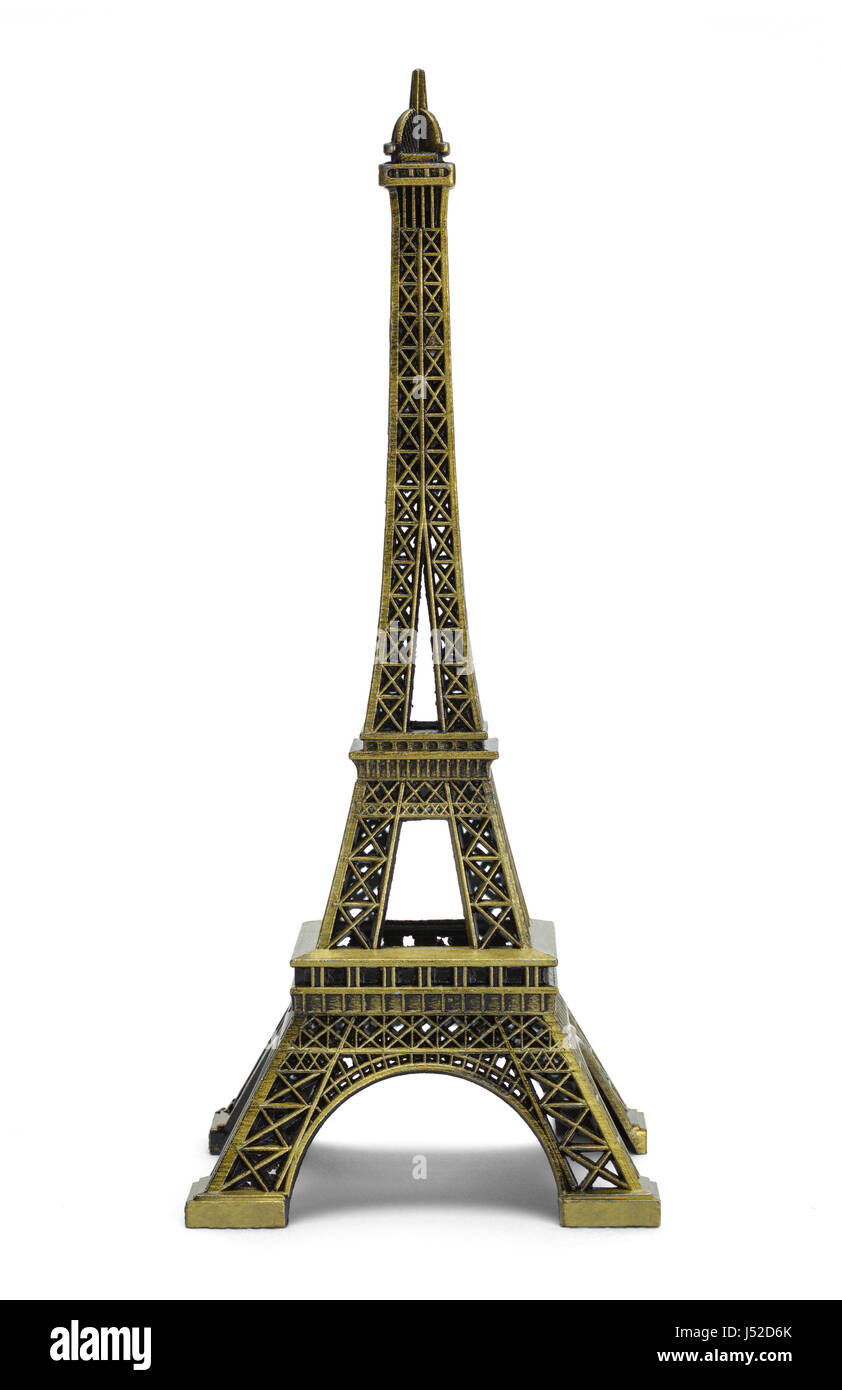Small Scale Eiffel Tower Isolated on White Background. - Stock Image