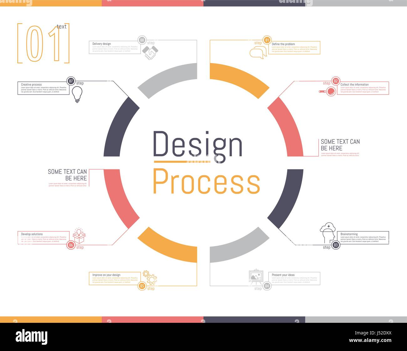 Vector illustration. Outline circular infographic of desing ...