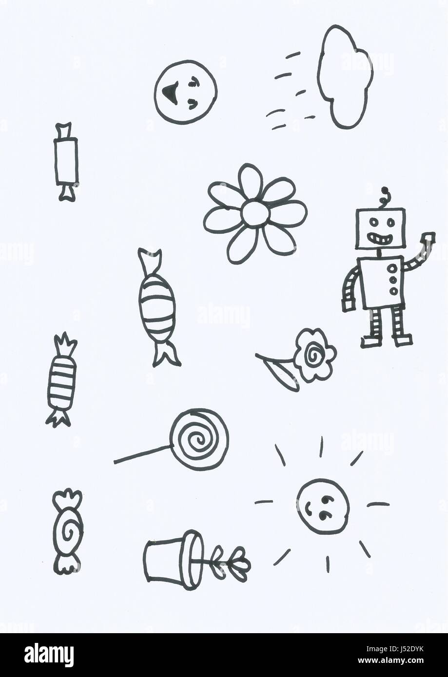 Series of scanned doodles in black ink on paper - Stock Image