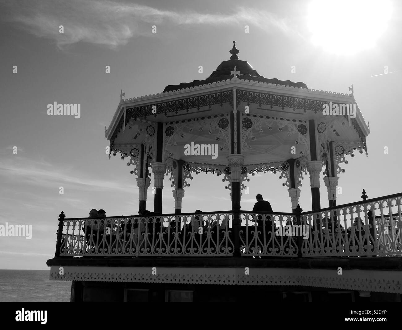 Bandstand on Brighton seafront, in black and white - Stock Image
