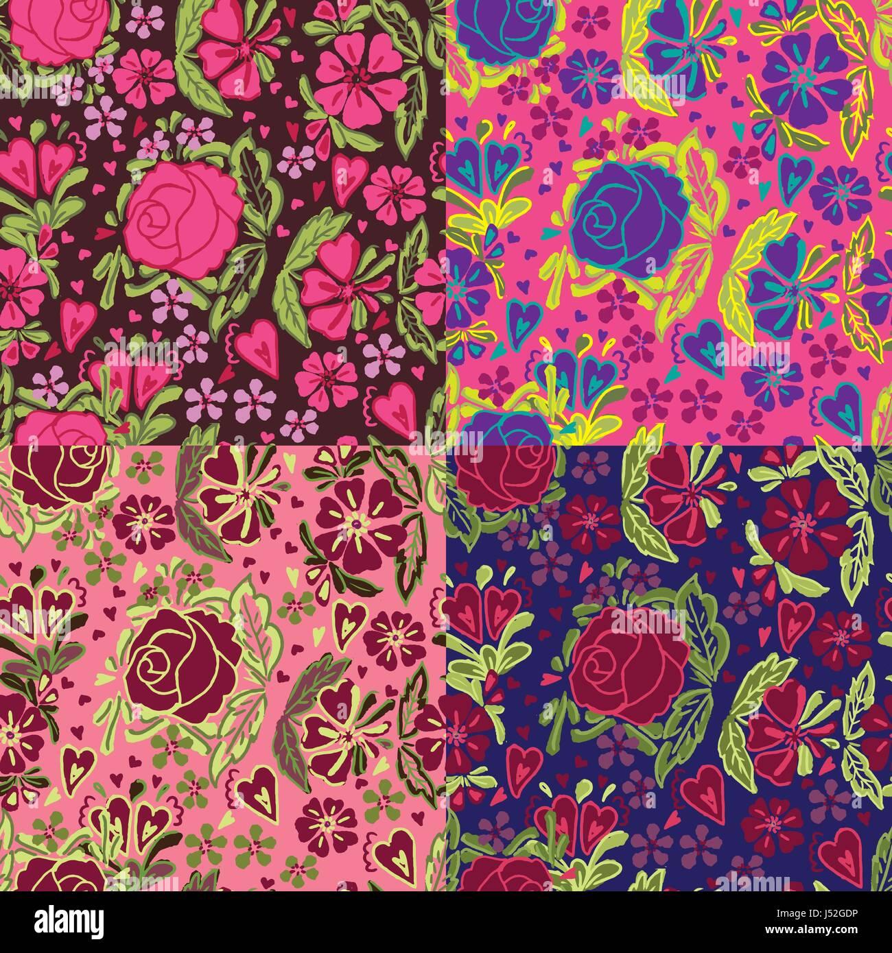 Traditional Floral Wallpaper Vector Illustration Stock Vector Art