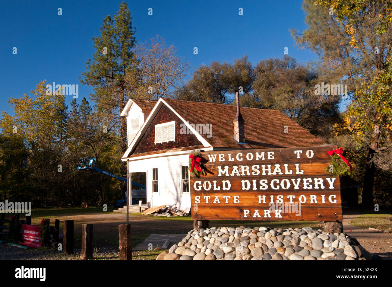Sign at Entrance at Christmas - Stock Image