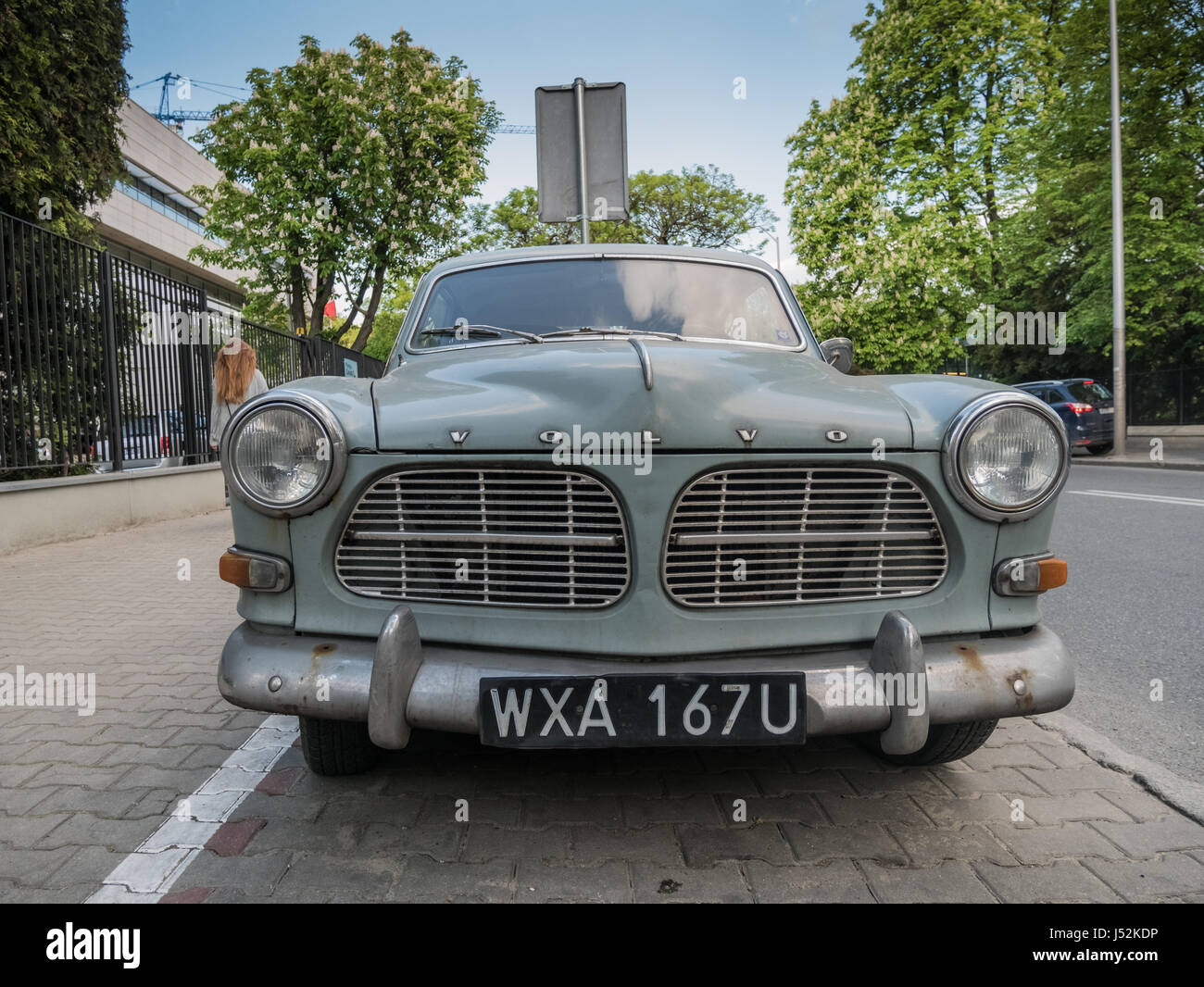 Volvo Amazon Coupe on the street in Warsaw, Poland - Stock Image