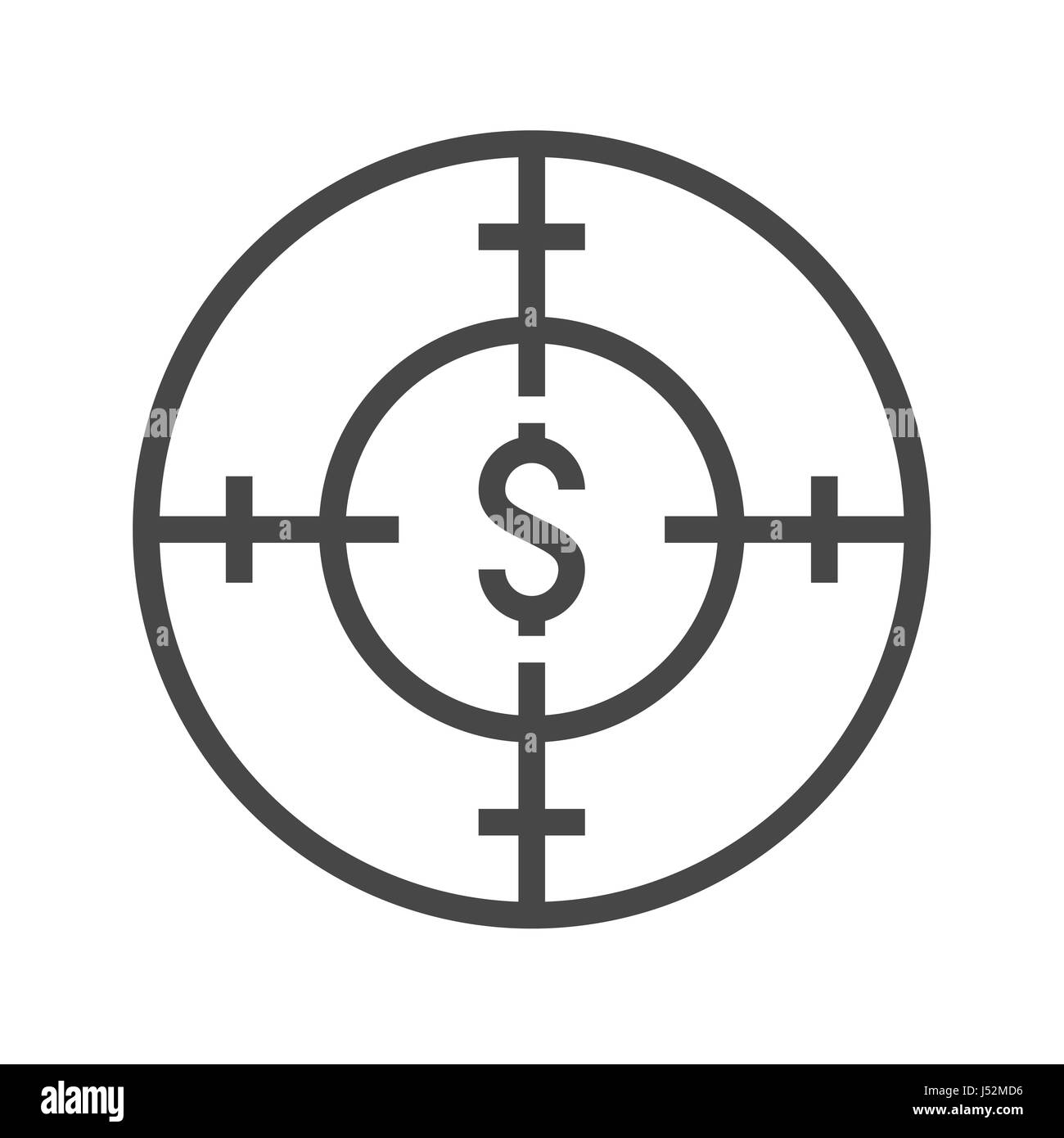 Funds Hunting Thin Line Vector Icon. Flat icon isolated on the white background. Editable EPS file. Vector illustration. - Stock Image