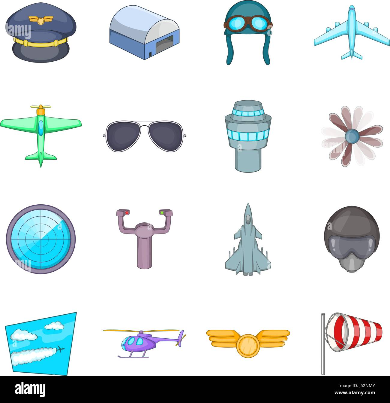 Aviation icons set. Cartoon illustration of 16 aviation vector icons for web Stock Vector