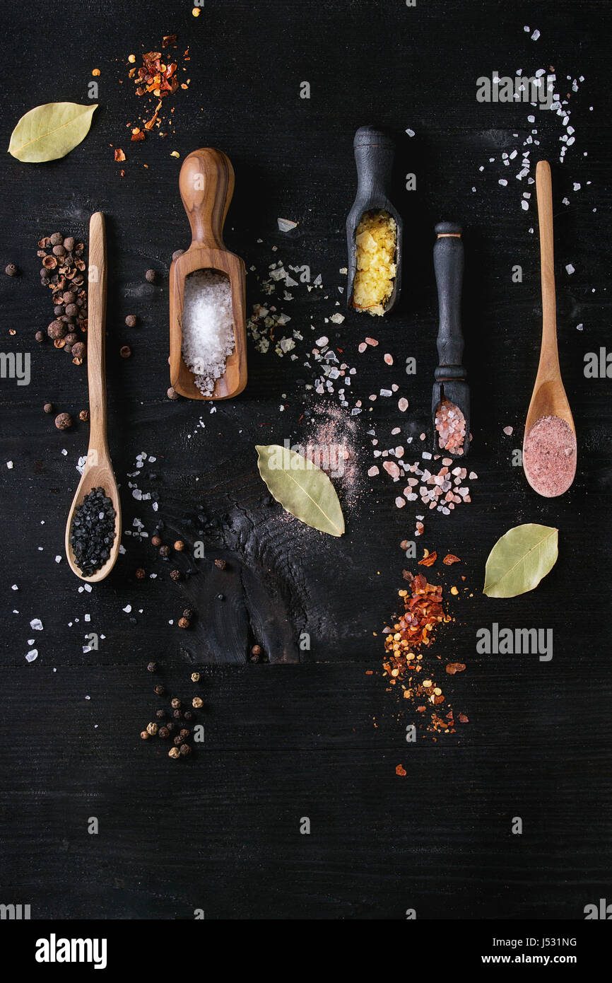 Variety of different colorful salt yellow saffron, pink, black himalayan, white sea and fleur de sel in wooden spoons - Stock Image
