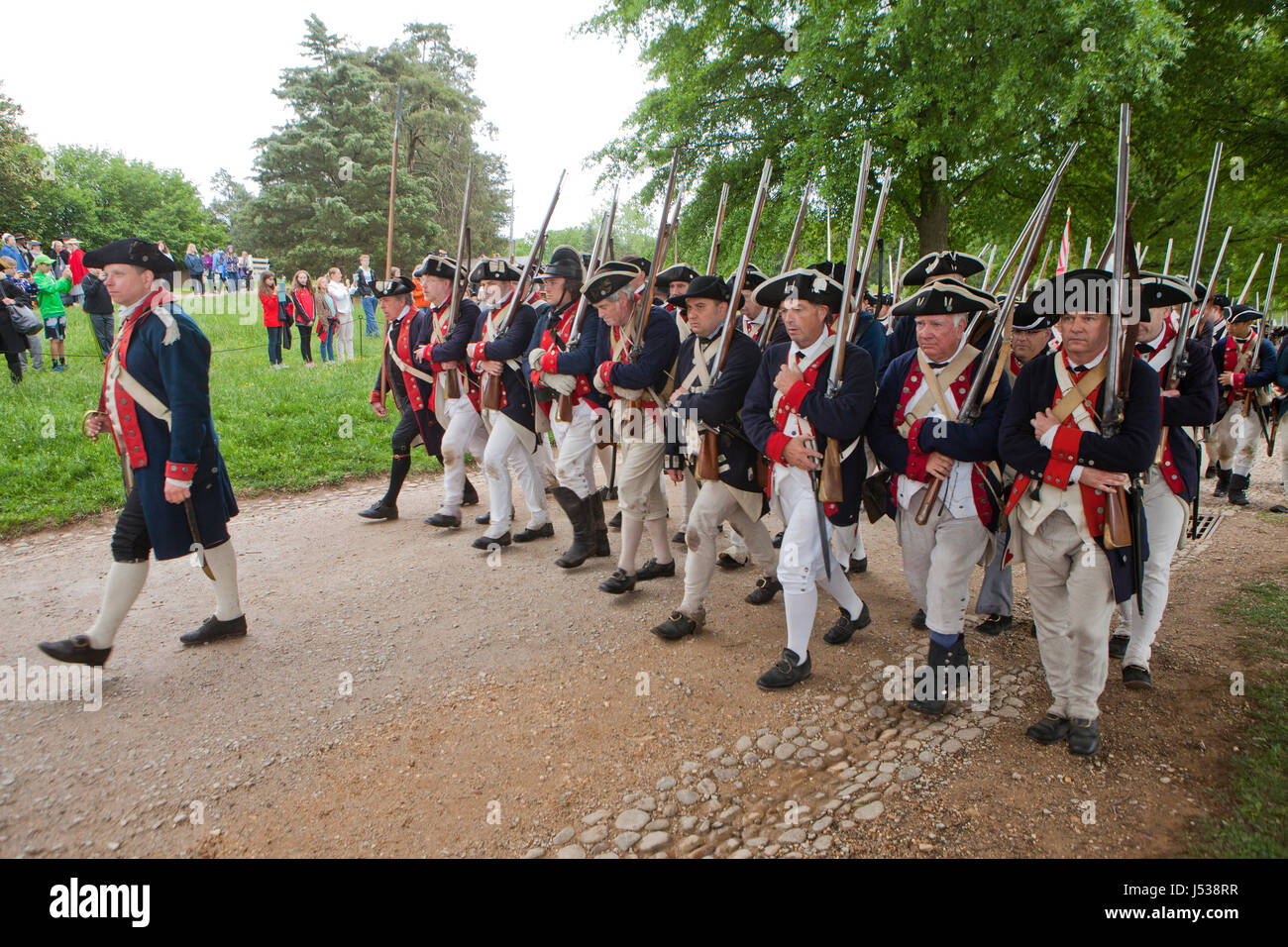American soldiers in the American Revolutionary War reenactment - Virginia USA - Stock Image