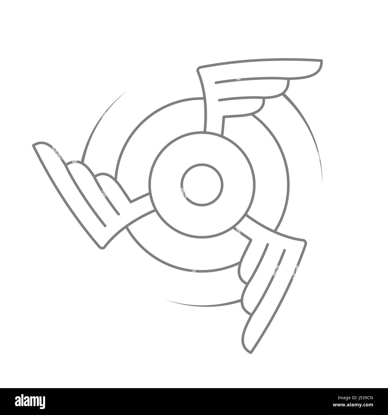 Aviation emblem, badge or logo. Military or civil aviation icon. Air force symbol. Rotating wings design. Vector - Stock Image