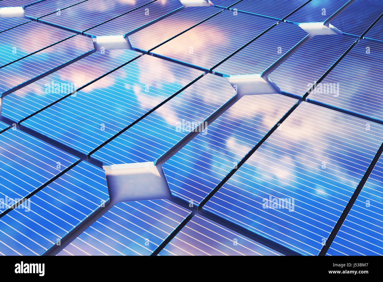 3D illustration reflection of the clouds on the photovoltaic cells. Blue solar panels on grass. Concept alternative - Stock Image