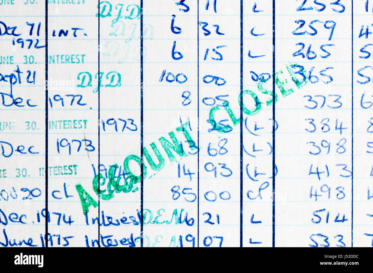 A hand-written bank book over-stamped with the words Account Closed. - Stock Image