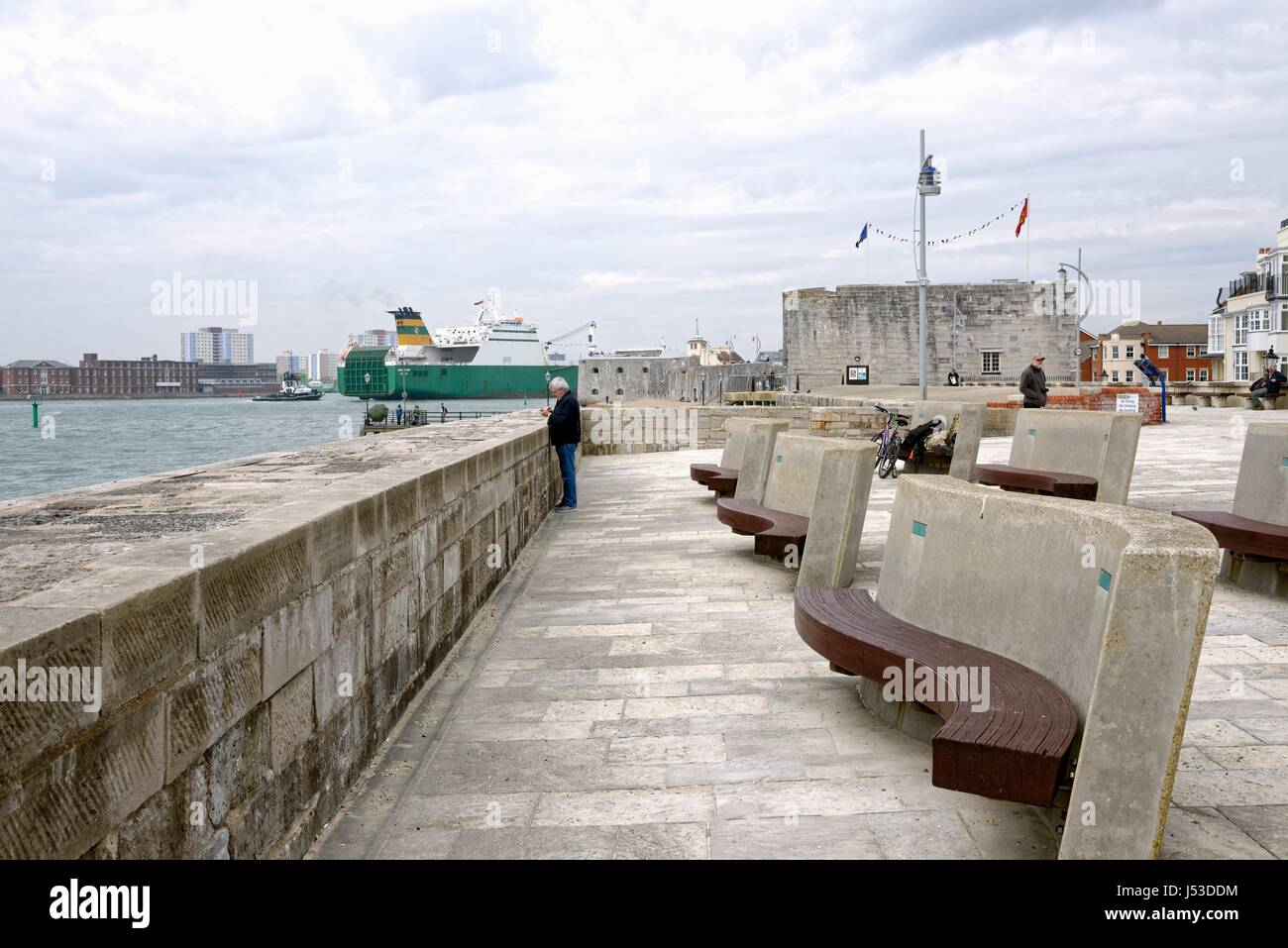 Old Portsmouth fortifications Portsmouth Harbour Hampshire UK - Stock Image