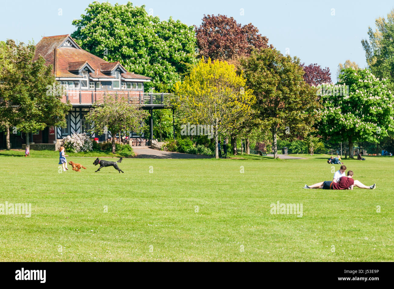 People relaxing in Preston Park, at 63 acres one of the largest public parks in Brighton. - Stock Image