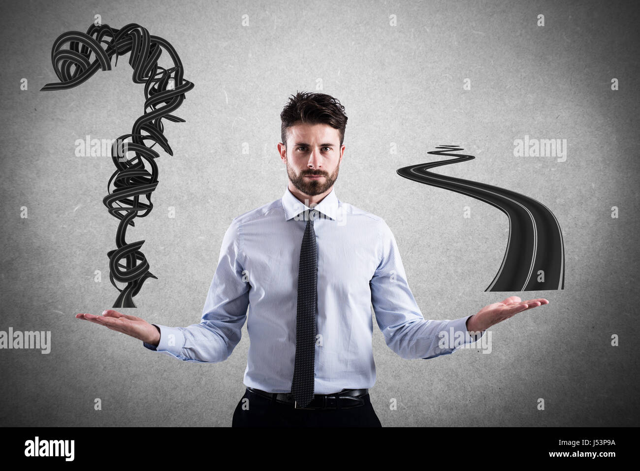 Easy and difficult way for business career - Stock Image