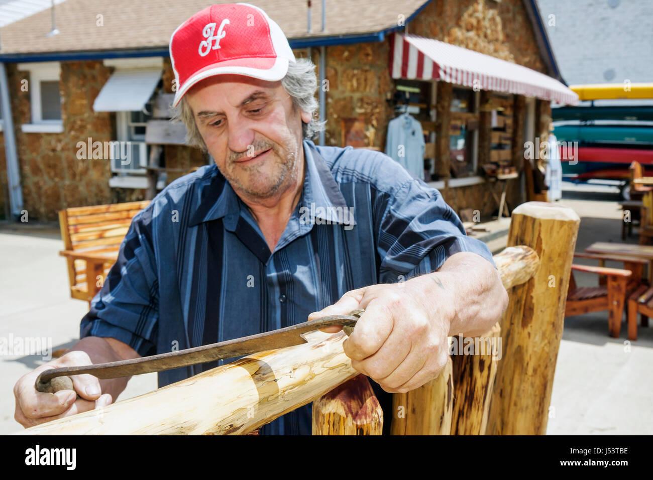 Arkansas Ozark Mountains Hardy Main Street The Indian Man Log Bed Headboard  Woodworker Rustic Furniture Man Craftsman Carpenter