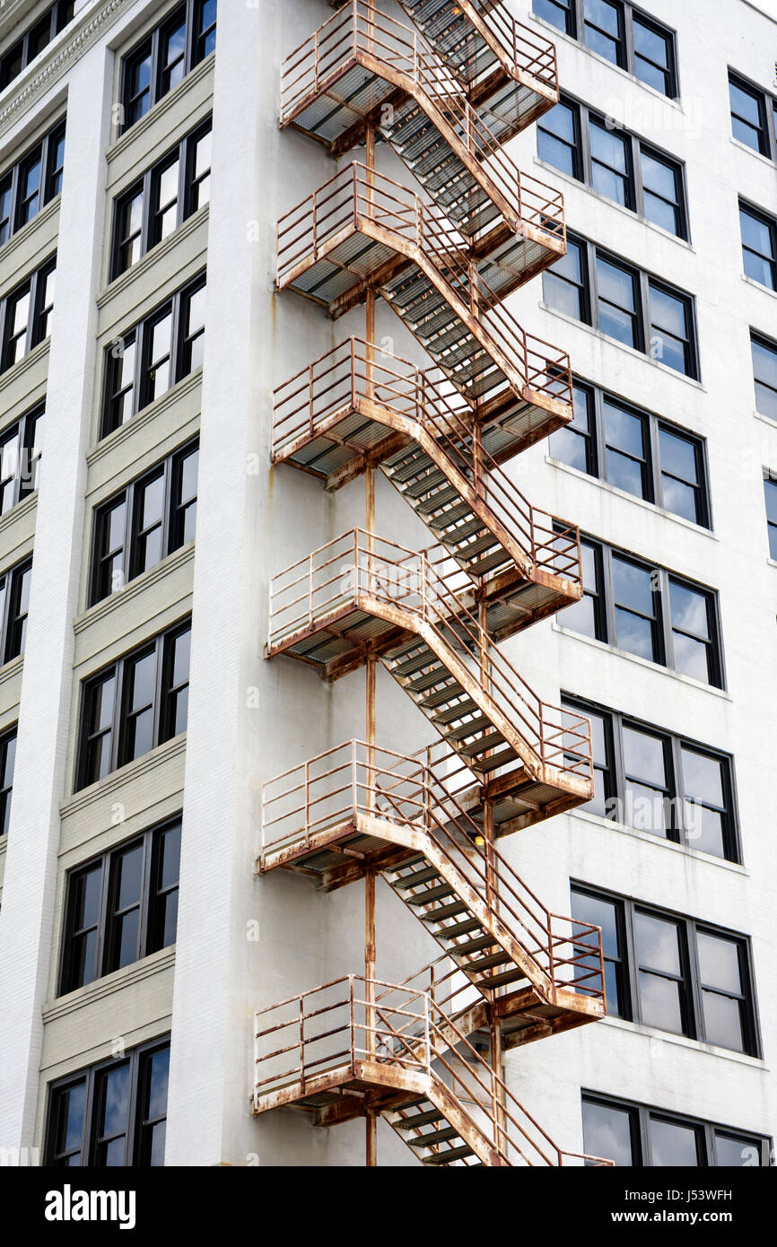Little Rock Arkansas External Fire Escape Stairs Building Exterior High  Rise Windows Symmetry Repeating   Stock