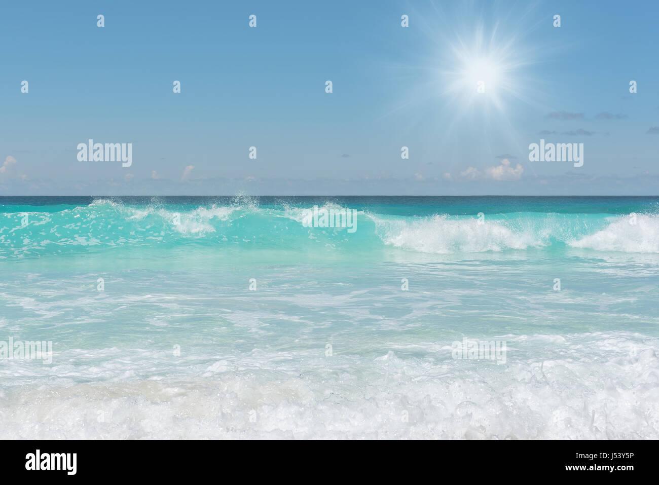 Seychelles beach at sunrise. - Stock Image