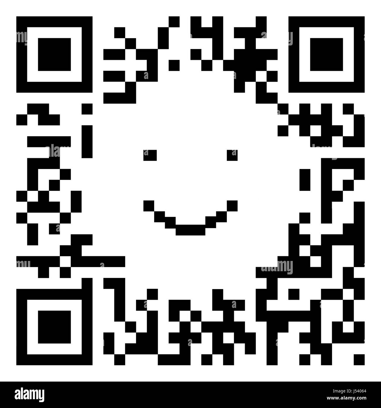 QR code sample in the shape of a smiling face isolated on