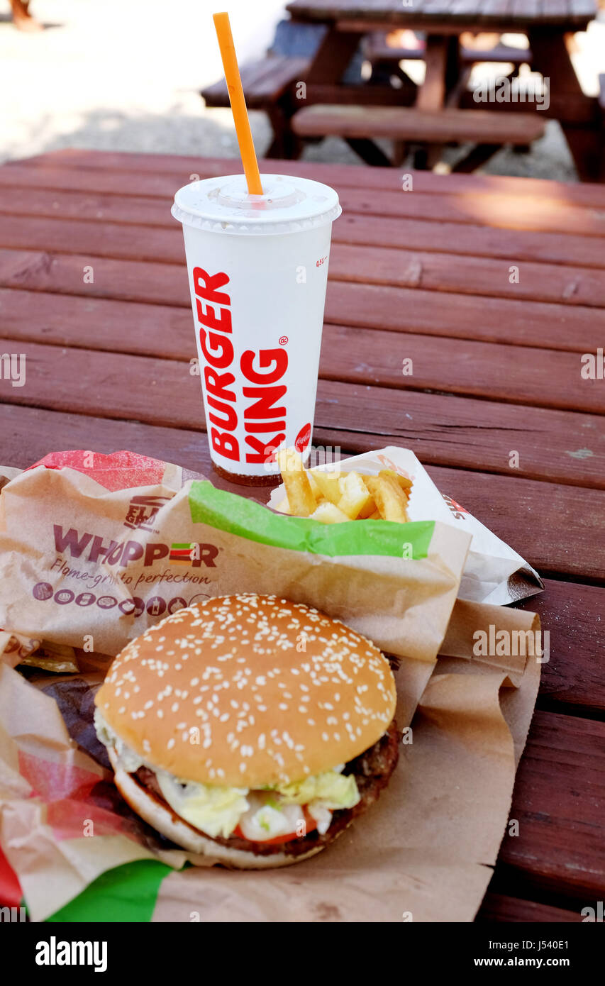 Burger King Big Whopper burger meal with cold drink UK Stock