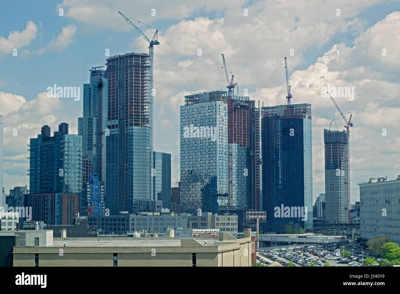Skyscrapers under construction in the Long Island City section of Queens New York City - Stock Image