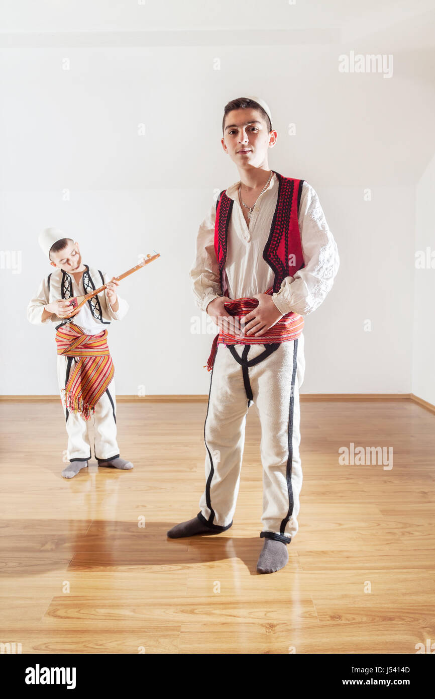 young boys in traditional albanian clothing - Stock Image