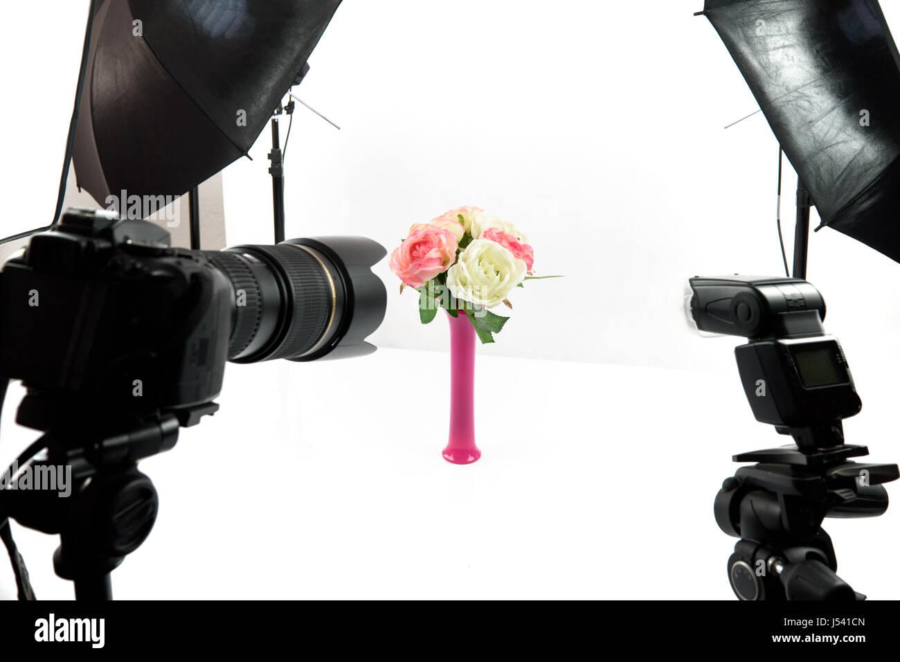 Interior of professional photo studio while shooting lifestyle decoration - Stock Image