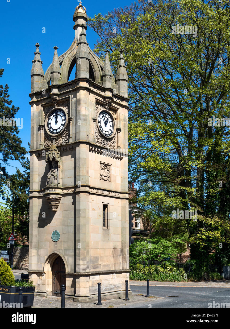 Clock Tower Built to Commemorate the Diamond Jubliee of Queen Victoria at North Street in Ripon North Yorkshire - Stock Image